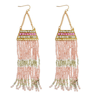 E-3779 Fashion gold plated long tassel earrings resin beads rhinestone dangle earrings women jewelry