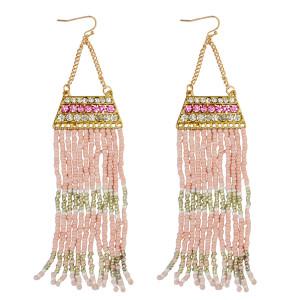 E-3779 Fashion gold plated long tassel earrings resin beads rhinestone dangle earrings women jewelry