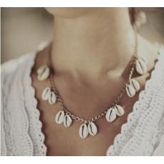 N-6219 Fashion beach boho gyspy silver plated natural shell tassel pendant necklace