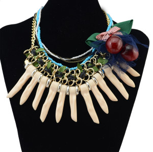 N-6226 Bohemia Handmade Gold Plated Multilayers Chain Resin Beads Choke Pendant Statement Necklace Cherry Bow Yarn Necklace 3 Colors