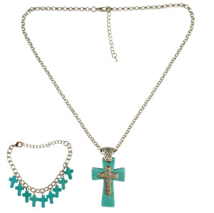 N-6230 Bohemian style silver fashion necklaces natural turquoise cross pendant necklace bracelets for women jewelry set
