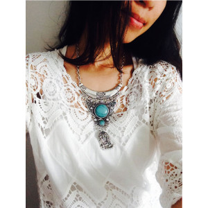 N-6186  Bohemian Ethnic Turquoise Beads Tassels Long Chain Pendant Necklace for Women