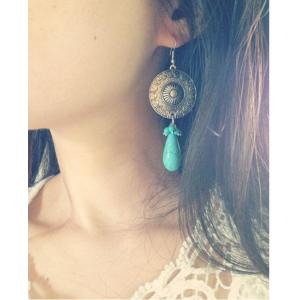 E-3525 New  Fashion Bohemia Turquoise Retro Silver Plated Dangle Earrings