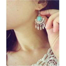 E-3506 Bohemian Tibetan silver round turquoise fan shape fish tassel long dangling earrings
