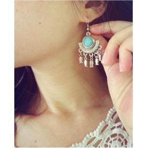 E-3506 Bohemian Tibetan silver round turquoise fan shape fish tassel long dangling earrings
