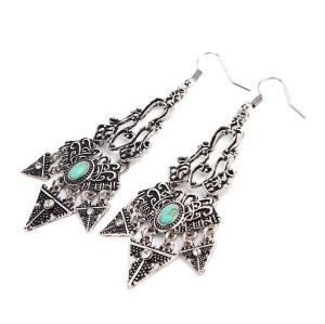 E-3781 Bohemian tibetan Alloy triangle pendant turquoise beads dangle earrings women jewelry