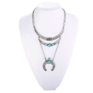 N-6232 Antique Silver/Gold Platede Moon Shape  Zinc Alloy Long Pendant tassel With Natural Turquoise women Necklace Accessories