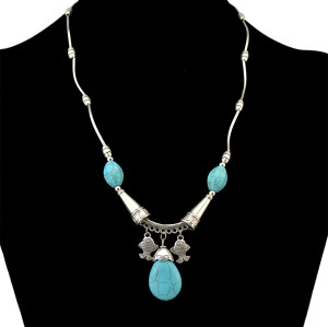 N-6237 Vintage Boho   Turquoise  Stone Beads  Silver Plated Chain Charm Neckalce with Fish Shape Pendant Choker Bib Necklace for Women