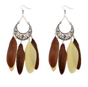 E-3784 Fashion bohemian style crescent pendant feather tassel dangle earrings jewelry