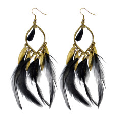 E-3783 Fashion bohemian style crescent pendant feather tassel dangle earrings jewelry