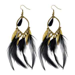 E-3783 Fashion bohemian style crescent pendant feather tassel dangle earrings jewelry