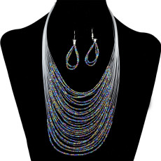 N-6254 Bohemia Women Multilayer Necklace Earring Resin Beads Necklace Jewelry Set 6 Colors