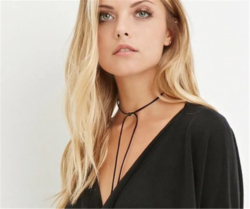 N-6242 Simple Long Leather Rope Chain Sexy Necklace 4 Colors