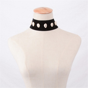 N-6247 Women Fashion Silver Plated Nylon Rope Shell Statement Choker Necklace
