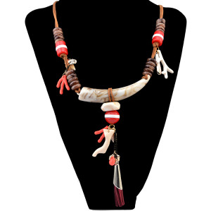N-6253  3 Colors Ethnic Style Leather Chain Ivory Fashion Necklaces & Pendants Leaf Antlers Resin Beads Necklace Women Jewelry