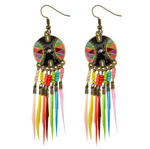 E-3786 New Fashion European Muti Resin Beads Small Round  Feather Tassel Long Dangle Earrings for Women Jewelry
