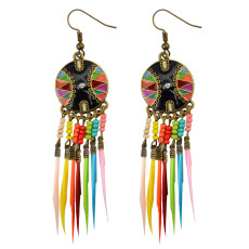 E-3786 New Fashion European Muti Resin Beads Small Round  Feather Tassel Long Dangle Earrings for Women Jewelry