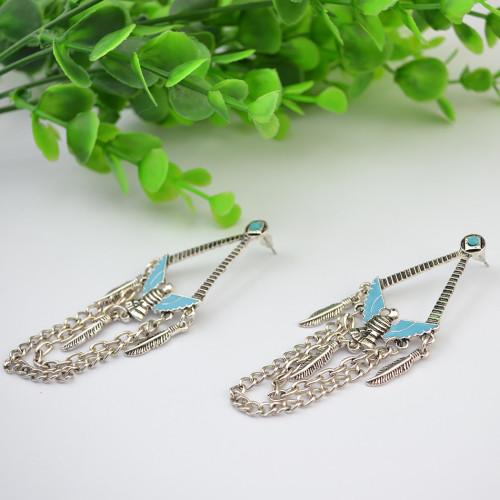 E-3782 Bohemian Style tibetan silver plated pigeon pendant leaf tassel dangle earrings jewelry