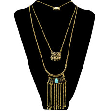 N-6252  Bohemian 3 Multilayers Gold Silver Plated Long Tessel Chain Pendant Natural Turquoise Beads Necklace