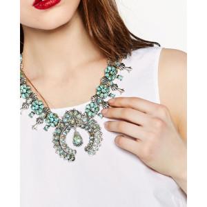 N-6236 Bohemian tibetan silver plated turquoise beads bib pendant necklace women jewelry
