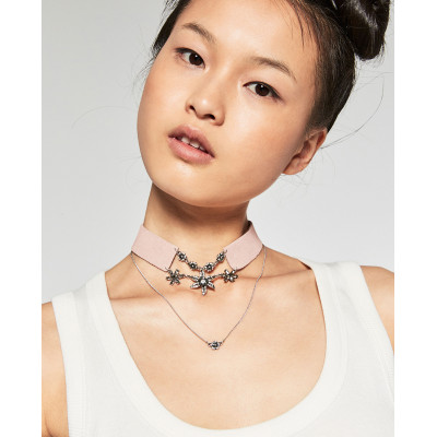 N-6235 Korea Fashion Black Pink Leather Chain Choker Necklace Flower Crystal 2 Chains Necklace Jewelry