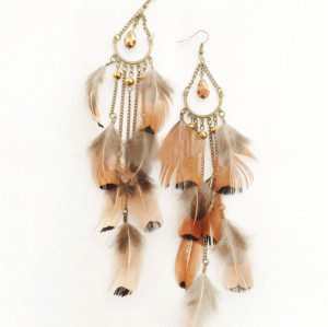 E-3778 Bohemia Retro Bronze Feather Long Drop Dangle Beads Tassel Earrings