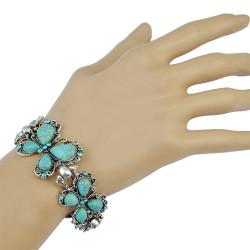 B-0720 Bohemian Style Silver Bracelet Turquoise Buteerfly Crystal Bangle Bracelet Jewelry