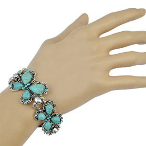B-0720 Bohemian Style Silver Bracelet Turquoise Buteerfly Crystal Bangle Bracelet Jewelry