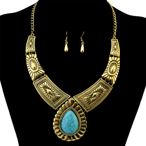 N-6265 Bohemian Vintage Silver Gold Short Chain Turquoise Bead Pendant Choker Necklace Earring Women Jewelry Set