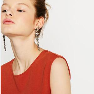 E-3787  Fashion Colour Drop Earring  Crystal Rhinestone Long Earrings For Women Jewelry