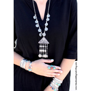 N-5906  New Fashion  European  Silver Plated Triangle&Round& Flower Tassel Coin  Pendant Necklace for Women Jewelry