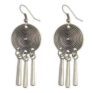 E-3788   Bohemian Vintage Style Rhinestone Hollow Flower Fan Shape Silver Metal Drop Tassel Long Earrings Fashion Jewelry For Women