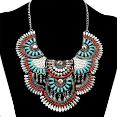 N-6259   Bohemian tibetan silver plated resin beads sector metal statement pendant necklace