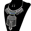 N-6257   Bohemian tibetan silver Bronze plated crystal resin beads statement pendant necklace