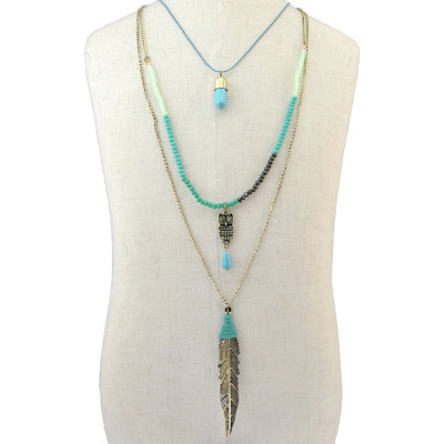 N-6261 Bohemian Vintage 3 Multilayers Long Chain Pendant Beads Owl Leaf  Natural Turquoise Necklace