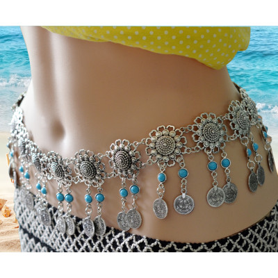 N-6267 * Fashion  Style European  Gypsy Silver Plated Alloy Coin Tassel with  blue Resin Beads Belly Body Chain Waist  summer Chain Body Jewelry