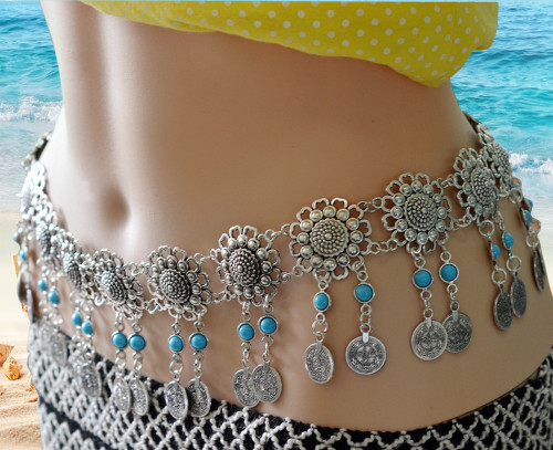 N-6267 Fashion  Style European  Gypsy Silver Plated Alloy Coin Tassel with  blue Resin Beads Belly Body Chain Waist  summer Chain Body Jewelry