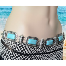 N-6266 * Bohemian  Summer Beach Carved Flower Tribal Gypsy Silver Plated Alloy Coin Tassel Waist Chain Beads Natural Turquoise Belly Body Chain