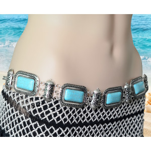 N-6266 Bohemian  Summer Beach Carved Flower Tribal Gypsy Silver Plated Alloy Coin Tassel Waist Chain Beads Natural Turquoise Belly Body Chain