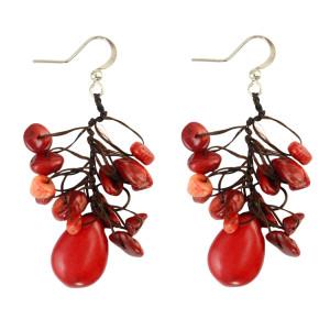 E-3794  Bohemian Style Natural Turquoise Beads Hook Earring Tassel Drop Long Earrings For Women Jewelry