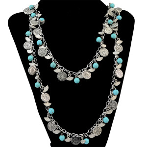 N-6263 Fashion Punk Style Silver Plated Crystal Long Chain Neckalce Jewelry Set