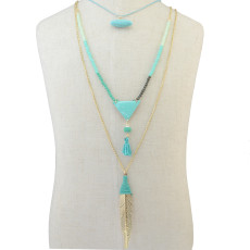 N-6270 Bohemian Multilayers Long Chain Triangle Pendant Resin Beads Leaf Natural Turquoise Necklace for Women