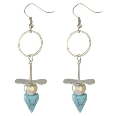 E-3792  Bohemian Tibetan Silver Plated Turquoise Conical Pendant Tassel Drop Dangle Fish Hook Beaded Earring
