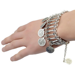 B-0729   Vintage Silver Plated Bracelet Carving Hollow Out Coin Bangle Bracelet for Women Jewelry