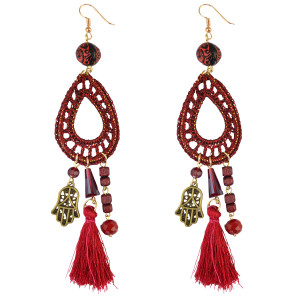 E-3793  Bohemian Style Weave Rope Hook Earring Resin Beads Hand Shape Tassel Long Earrings For Women Jewelry