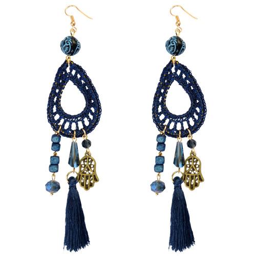 E-3793  Bohemian Style Weave Rope Hook Earring Resin Beads Hand Shape Tassel Long Earrings For Women Jewelry