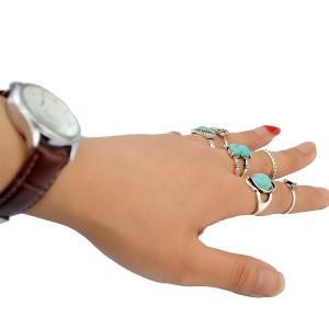 R-1360  6 Pcs/set Fashion Vintage Gem Stone Turkish Knuckle Nail Midi Ring Set  Hollow Rhinestone  Jewelry