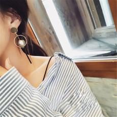 E-3797 Korea Fashion Dangle Earring Silver Gold Plated Charming Pearl Long Earring for Women Jewelry