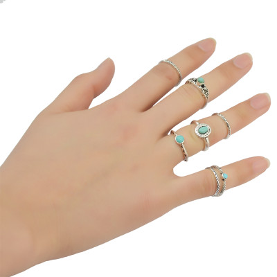 R-1364   7pcs/set New Fashion European  Style Silver Plated Design GreenTurquoise Bead and Synthetic White Crystal Nail Midi Finger Rings for Girl&Lady Jewelry