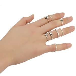 R-1362   7 Pcs/set Fashion Vintage Knuckle Nail Midi Ring Set Hollow Rhinestone Love Christmas Gift